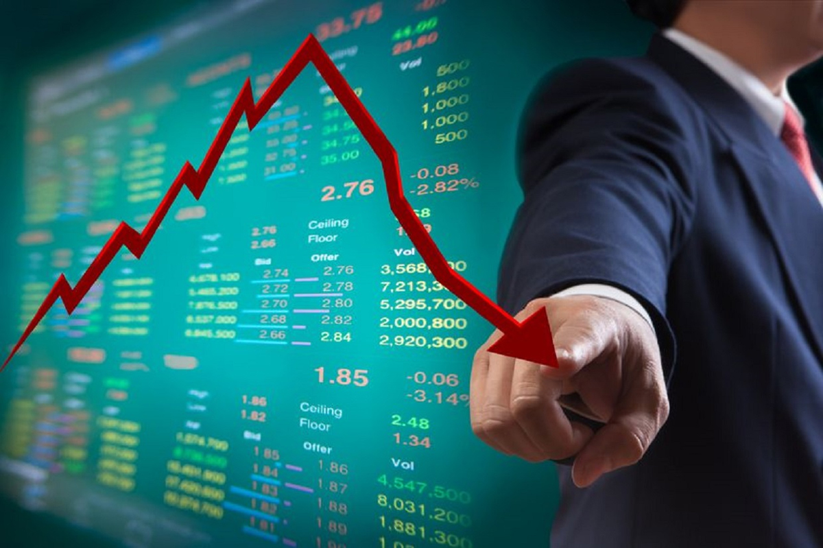 The Nifty closed at 14,650 points, down 1,500 points in the stock market amid global weakness.